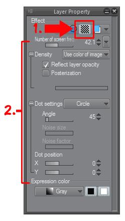 Propiedad de capa en Clip Studio Paint 2
